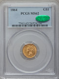 Gold Dollars, 1864 G$1 MS62 PCGS. CAC....
