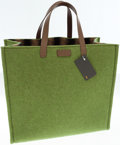 Luxury Accessories:Bags, Fendi Green Wool and Leather Tote Bag. ...
