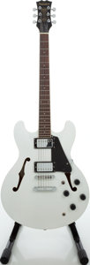 Musical Instruments:Electric Guitars, 2000s Samick Artist Series SAN 450 White Sparkle Semi-Hollow BodyElectric Guitar....