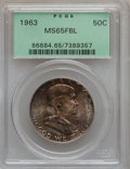 Franklin Half Dollars: , 1963 50C MS65 Full Bell Lines PCGS. PCGS Population (155/1). NGCCensus: (22/1). Numismedia Wsl. Price for problem free NG...