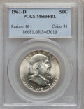 Franklin Half Dollars: , 1961-D 50C MS65 Full Bell Lines PCGS. PCGS Population (274/12). NGCCensus: (74/2). Numismedia Wsl. Price for problem free...