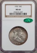 Franklin Half Dollars: , 1953 50C MS66 NGC. CAC. NGC Census: (42/1). PCGS Population (58/0).Mintage: 2,600,000. Numismedia Wsl. Price for problem f...