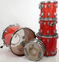 Musical Instruments:Drums & Percussion, 1966 Ludwig Orange-Red 5-Piece Drum Set...