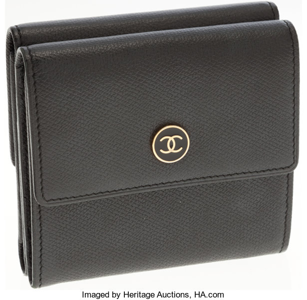 2872aa62028 Luxury Accessories:Accessories, Chanel Black Caviar Leather Compact Wallet  with CC Logo Snap.