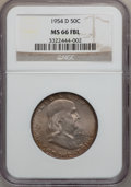 Franklin Half Dollars: , 1954-D 50C MS66 Full Bell Lines NGC. NGC Census: (21/1). PCGSPopulation (88/2). Numismedia Wsl. Price for problem free NG...