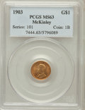 Commemorative Gold: , 1903 G$1 Louisiana Purchase/McKinley MS63 PCGS. PCGS Population(557/1917). NGC Census: (275/1389). Mintage: 17,500. Numism...