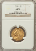 Indian Half Eagles: , 1911-S $5 AU58 NGC. NGC Census: (772/951). PCGS Population(274/875). Mintage: 1,416,000. Numismedia Wsl. Price for problem...