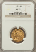 Indian Half Eagles: , 1910-S $5 AU55 NGC. NGC Census: (241/901). PCGS Population(161/377). Mintage: 770,200. Numismedia Wsl. Price for problem f...