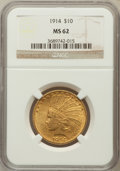 Indian Eagles: , 1914 $10 MS62 NGC. NGC Census: (689/472). PCGS Population(643/566). Mintage: 151,050. Numismedia Wsl. Price for problemfr...