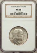 Commemorative Silver: , 1936 50C Robinson MS65 NGC. NGC Census: (783/233). PCGS Population(1054/476). Mintage: 25,265. Numismedia Wsl. Price for p...