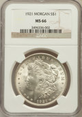 Morgan Dollars: , 1921 $1 MS66 NGC. NGC Census: (541/7). PCGS Population (331/7).Mintage: 44,690,000. Numismedia Wsl. Price for problem free...
