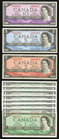 Canadian Currency: , 1954 Modified Portrait Notes.. ... (Total: 11 notes)