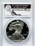 Modern Bullion Coins, 1999-P $1 One Ounce Silver Eagle Insert autographed By John M.Mercanti,12th Chief Engraver of the U.S. Mint PR70 Deep Ca...