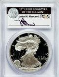Modern Bullion Coins, 1999-P $1 One Ounce Silver Eagle Insert autographed By John M.Mercanti,12th Chief Engraver of the U.S. Mint PR70 Deep Cameo...