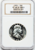 Proof Franklin Half Dollars, 1951 50C PR66 White Cameo NGC. NGC Census: (164/40). PCGSPopulation (61/7). Numismedia Wsl. Price for problem free NGC/PC...