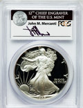 Modern Bullion Coins, 1988-S $1 One Ounce Silver Eagle Insert autographed By John M.Mercanti,12th Chief Engraver of the U.S. Mint PR70 Deep Cameo ...