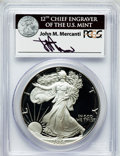 Modern Bullion Coins, 1986-S $1 One Ounce Silver Eagle Insert autographed By John M.Mercanti,12th Chief Engraver of the U.S. Mint PR70 Deep Ca...