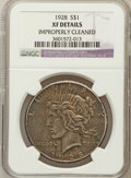 Peace Dollars: , 1928 $1 -- Improperly Cleaned -- NGC Details. XF. NGC Census:(48/5743). PCGS Population (98/7798). Mintage: 360,649. N...