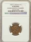 Lincoln Cents, 1909-S 1C -- Environmental Damage -- NGC Details. VF. NGC Census:(155/899). PCGS Population (240/1628). Mintage: 1,825...