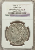 Morgan Dollars, 1881-CC $1 -- Improperly Cleaned -- NGC Details. VF. NGC Census:(6/9239). PCGS Population (23/18236). Mintage: 296,000. Nu...