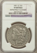 Morgan Dollars, 1891-CC $1 -- Improperly Cleaned -- NGC Details. VF. NGC Census:(15/7925). PCGS Population (39/13576). Mintage: 1,618,...