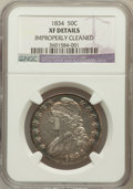 Bust Half Dollars, 1834 50C Large Date, Large Letters -- Improperly Cleaned -- NGCDetails. XF. NGC Census: (120/1887). PCGS Population (70/85...