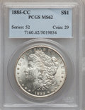 Morgan Dollars: , 1885-CC $1 MS62 PCGS. PCGS Population: (1942/20283). NGC Census: (1131/9489). CDN: $565 Whsle. Bid for problem-free NGC/PCG...