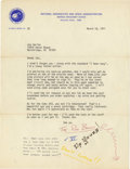 "Explorers:Space Exploration, Humorous NASA Signed Letter, one page, 8"" x 10.5"". Houston, March18, 1971. To Joe Garino, signed ""The Red Baron."" In pa...(Total: 1 Item)"