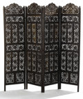 Furniture , An Indian Four Panel Carved Wood Screen. . Unknown maker, Indian. Late 19th/early 20th century. Carved wood. Unmarked. 59.75...