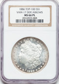 Morgan Dollars: , 1886 $1 MS66 Prooflike NGC. VAM-17. Doubled Die Reverse - Arrows.Top 100. NGC Census: (22/1). PCGS Population (20/1). Nu...
