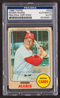 Baseball Cards:Autographs, 1968 Topps Roger Maris #330 Signed Card PSA Authentic....