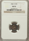 Seated Half Dimes: , 1860 H10C AU55 NGC. NGC Census: (10/444). PCGS Population (15/430).Mintage: 799,000. Numismedia Wsl. Price for problem fre...