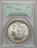 Morgan Dollars: , 1891-O $1 MS64 PCGS. PCGS Population (1368/86). NGC Census:(1014/72). Mintage: 7,954,529. Numismedia Wsl. Price for proble...