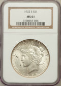 Peace Dollars: , 1922-S $1 MS61 NGC. NGC Census: (208/4326). PCGS Population(137/5403). Mintage: 17,475,000. Numismedia Wsl. Price for prob...