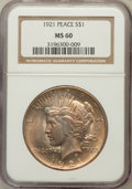 Peace Dollars: , 1921 $1 MS60 NGC. NGC Census: (36/9571). PCGS Population(93/10655). Mintage: 1,006,473. Numismedia Wsl. Price for problem...