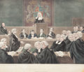 Fine Art - Work on Paper:Print, THE TICHBORNE ROMANCE, EXAMINATION OF THE CLAIMANT. 1871. Hand-colored lithograph. 29 x 32 inches (73.7 x 81.3 cm). S. Lipsc...