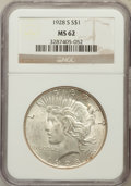 Peace Dollars: , 1928-S $1 MS62 NGC. NGC Census: (739/2569). PCGS Population(961/3701). Mintage: 1,632,000. Numismedia Wsl. Price for probl...