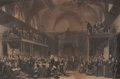 Fine Art - Work on Paper:Print, SIR GEORGE HAYTER (British, 1792-1871). View of the Interior of the House of Peers During the Trial of Queen Caroline, 182...