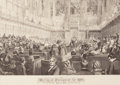 Fine Art - Work on Paper:Print, MEETING OF PARLIAMENT FOR 1859, HOUSE OF LORDS FROM THE ILLUSTRATED LONDON NEWS. Engraving. 23 x 27 inches (58.4 x 68.6 cm)...