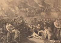 BENJAMIN WEST (American, 1738-1820) Death of Admiral Horatio Nelson on HMS 'Victory' at the Battle of Trafalgar