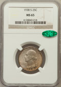 Washington Quarters: , 1938-S 25C MS65 NGC. CAC. NGC Census: (445/289). PCGS Population(802/397). Mintage: 2,832,000. Numismedia Wsl. Price for p...