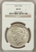 Peace Dollars: , 1927-S $1 AU53 NGC. NGC Census: (72/3160). PCGS Population(97/4615). Mintage: 866,000. Numismedia Wsl. Price for problem f...