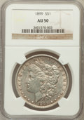 Morgan Dollars: , 1899 $1 AU50 NGC. NGC Census: (45/8032). PCGS Population(97/10601). Mintage: 330,846. Numismedia Wsl. Price for problemfr...