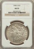 Morgan Dollars: , 1900-S $1 AU55 NGC. NGC Census: (176/2776). PCGS Population(153/4529). Mintage: 3,540,000. Numismedia Wsl. Price for probl...