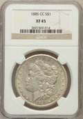 Morgan Dollars: , 1885-CC $1 XF45 NGC. NGC Census: (4/9076). PCGS Population(13/18261). Mintage: 228,000. Numismedia Wsl. Price for problem ...