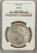 Peace Dollars: , 1927-S $1 AU55 NGC. NGC Census: (128/3032). PCGS Population(153/4462). Mintage: 866,000. Numismedia Wsl. Price for problem...