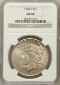 Peace Dollars: , 1928-S $1 AU58 NGC. NGC Census: (360/3608). PCGS Population(371/4878). Mintage: 1,632,000. Numismedia Wsl. Price for probl...