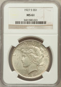 Peace Dollars: , 1927-S $1 MS61 NGC. NGC Census: (155/2667). PCGS Population(152/4094). Mintage: 866,000. Numismedia Wsl. Price for problem...