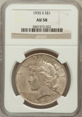 Peace Dollars: , 1935-S $1 AU58 NGC. NGC Census: (199/2505). PCGS Population(274/3817). Mintage: 1,964,000. Numismedia Wsl. Price for probl...