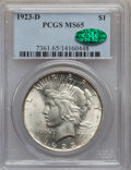 Peace Dollars: , 1923-D $1 MS65 PCGS. CAC. PCGS Population (405/75). NGC Census:(235/23). Mintage: 6,811,000. Numismedia Wsl. Price for pro...